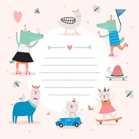 Cute Calendar Daily Planner Template for 2016. Beautiful Diary with Funny Animals Illustrations. Good for Kids. Organizer and Schedule with place for Notes