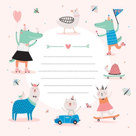 동물: Cute Calendar Daily Planner Template for 2016. Beautiful Diary with Funny Animals Illustrations. Good for Kids. Organizer and Schedule with place for Notes