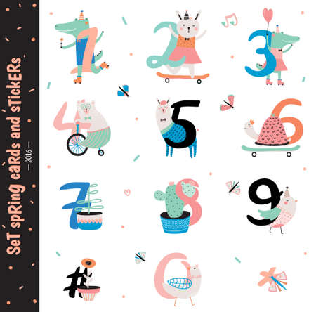 Set of Birthday Anniversary Numbers with Cute Animals. Good for Birthday Party Invitation, gift tags and stickers with zoo kids animals. Isolated. White Background