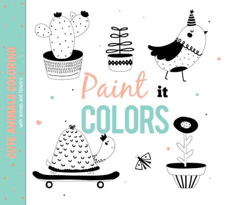 Définir des animaux drôles et mignons. Coloriage pour kids.White Contexte. Hand drawn illustration. Bon pour les cartes d'anniversaire, étiquettes cadeaux, des étiquettes, des affiches et des autocollants. Vecteurs