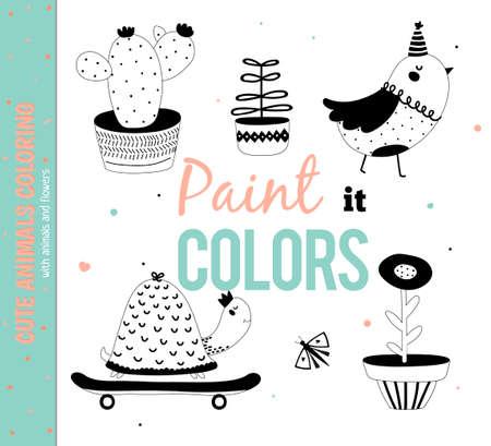 Set van grappige en schattige dieren. Kleurplaten voor kids.White Achtergrond. Hand getrokken illustratie. Goed voor verjaardagskaarten, cadeau labels, labels, posters en stickers.
