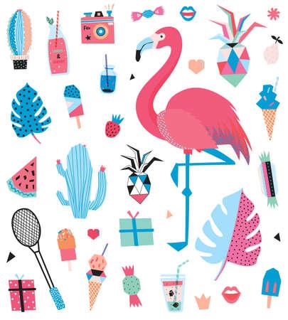 Cute Summer Design Scandinavian Set of Trandy Summer Elements. Vector. Isolated. White Background. Trandy Summer Concept - Hawaii, sport, palm, pinapple, flamingo