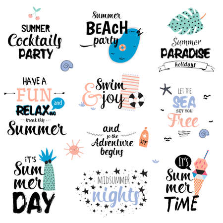 Cute Summer Typography Design Set with Trendy Summer Elements. Summer Typographic. Vector. Isolated. White Background. Scandinavian Summer Concept.