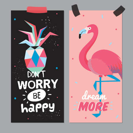 dont worry: Cute Hello Summer Poster with Trandy Summer Elements. Summer Typographic. Scandinavian Style. Vector. Flamingo, pinapple. Dont Worry, Be Happy. Dream Illustration