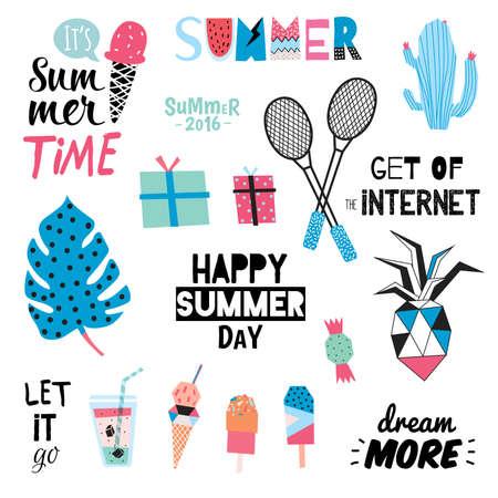 summer sport: Cute Summer Design Scandinavian Set of Trendy Holiday Summer Elements. Summer Typographic. Vector. Isolated. White Background. Modern Summer Concept. Hawaii, sport, palm, pinapple