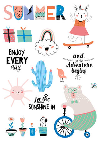 Cute Summer Design Scandinavian Set of Trendy Holiday Summer Elements. Summer Typographic. Vector. Isolated. White Background. Modern Summer Concept. Animal, Holiday, flower