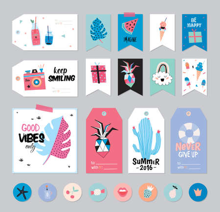Cute Summer Scandinavian Set of Greeting Cards, Gift Tags, Stickers and Labels Templates with Trendy Summer Elements. Vector. Summer Modern Concept with Graphic Design Elements. Fruits, Ice cream