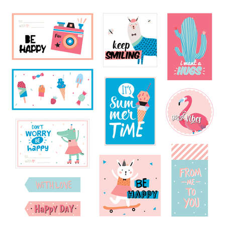 cute graphic: Cute Summer Scandinavian Set of Greeting Cards, Gift Tags, Stickers and Labels Templates with Trendy Summer Elements. Vector. Summer Modern Concept with Graphic Design Elements. Flamingo, Ice cream Illustration