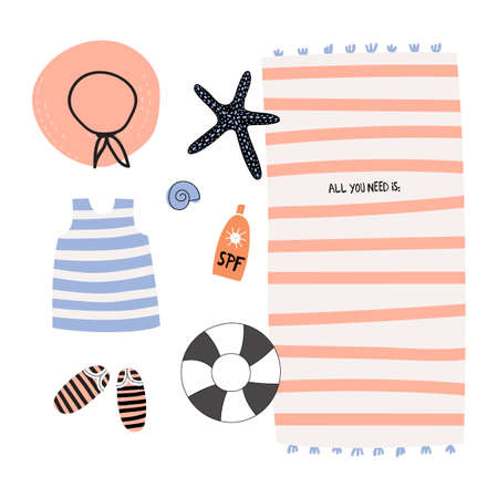 lifebouy: Cute Hello Summer Poster with Trandy Summer Elements. Scandinavian Style. Vector. White Background. Good for Greeting Cards, Gift Tags, Stickers, Placards and Labels Templates.