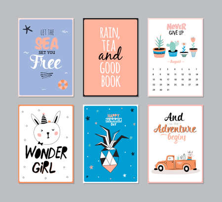 lifebouy: Cute Summer Poster Set with Calendar. June. Trandy Summer Elements. Summer Typographic. Vector. Isolated. Good for Scandinavian Greeting Cards, Gift Tags, Placards, Stickers and Labels Templates.