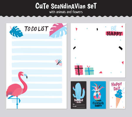 daily planner: Scandinavian Weekly and Daily Planner Template. Organizer and Schedule with Notes and To Do List. Vector. Isolated. Holiday Summer Concept with Graphic Design Elements. Flamingo, Ice Cream, Pineapple