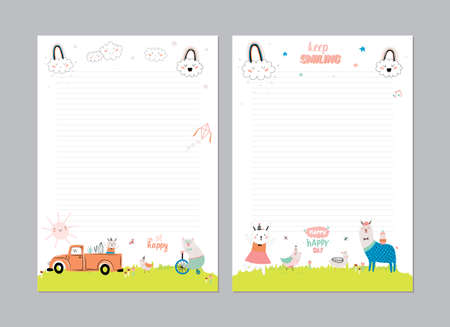 daily planner: Cute Calendar Daily Planner Template for 2016. Beautiful Diary with Vector Funny Animals Illustrations. Good for Kids. Summer Season Holidays Backgrounds. Organizer and Schedule with place for Notes Illustration