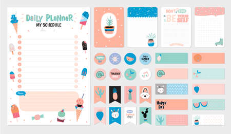 Scandinavian Weekly and Daily Planner Template. Organizer and Schedule with Notes and To Do List. Vector. Isolated. Trendy Holiday Summer Concept with Graphic Design Elements  イラスト・ベクター素材
