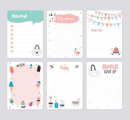 かわいいカレンダー 2016 年のテンプレート プランナーの毎日。ノートの用紙設定ベクトル変な動物イラスト。子供たちに適しています。夏のシーズ