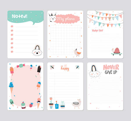Cute Calendar Daily Planner Template for 2016. Note Paper Set with Vector Funny Animals Illustrations. Good for Kids. Summer Season Holidays Backgrounds. Organizer and Schedule with place for Notes