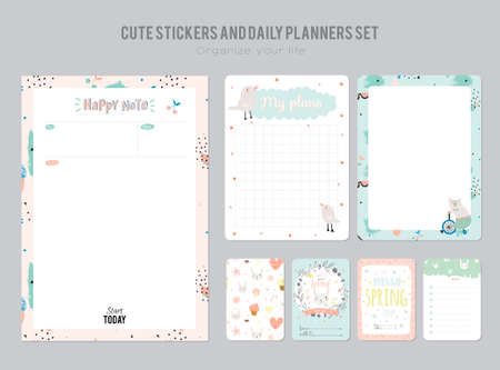 weekly planner: Cute Daily Calendar Template. Note Paper and Stickers Set with Vector Funny Animals Illustrations. Good for Kids. Fun Background. Organizer and Schedule with place for Notes.