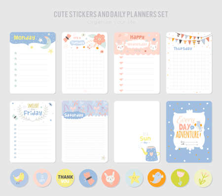 Cute Daily Note Template. Notebook Paper and Stickers Set with Vector Funny Animals Illustrations. Good for Kids. Fun Background. Organizer and Schedule with place for Notes. Stock fotó - 62145066