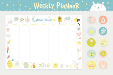 Cute calendar weekly planner template for 2016 beautiful diary cute calendar weekly planner template for 2016 beautiful diary with vector character and funny kids maxwellsz