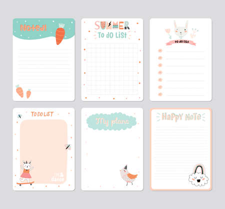 daily planner: Cute Calendar Daily Planner Template for 2016. Note Paper Set with Vector Funny Animals Illustrations. Good for Kids. Summer Season Holidays Backgrounds. Organizer and Schedule with place for Notes