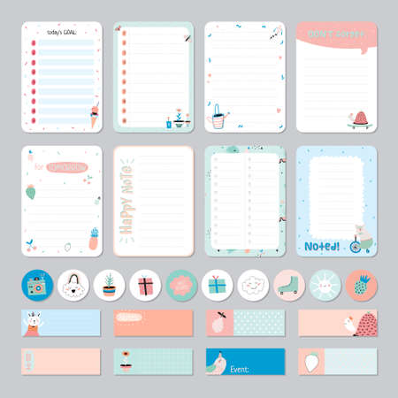 Cute Calendar Daily and Weekly Planner Template. Note Paper and Stickers Set with Vector Funny Animals Illustrations. Good for Kids. Cute Background. Organizer and Schedule with place for Notes. Vettoriali