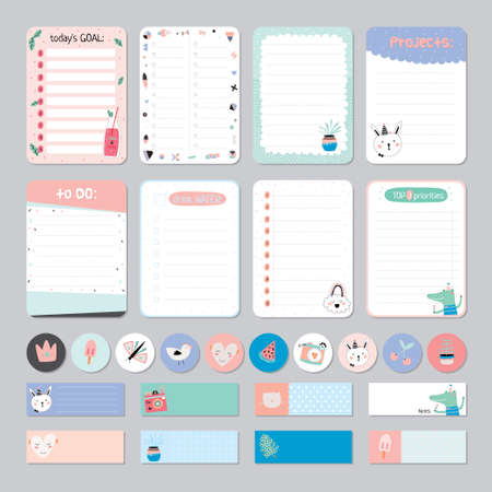 Cute Calendar Daily and Weekly Planner Template. Note Paper and Stickers Set with Vector Funny Animals Illustrations. Good for Kids. Cute Background. Organizer and Schedule with place for Notes. 矢量图像