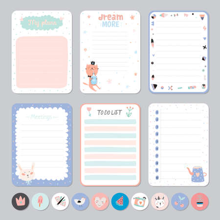 Cute Calendar Daily and Weekly Planner Template. Note Paper and Stickers Set with Vector Funny Animals Illustrations. Good for Kids. Cute Background. Organizer and Schedule with place for Notes.  イラスト・ベクター素材