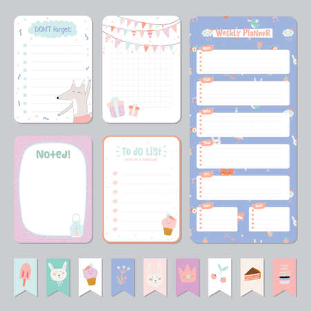 Cute Calendar Daily and Weekly Planner Template. Note Paper and Stickers Set with Vector Funny Animals Illustrations. Good for Kids. Cute Background. Organizer and Schedule with place for Notes. Illustration