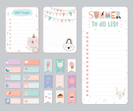 Cute Calendar Daily and Weekly Planner Template. Note Paper and Stickers Set with Vector Funny Animals Illustrations. Good for Kids. Cute Background. Organizer and Schedule with place for Notes. Ilustracja