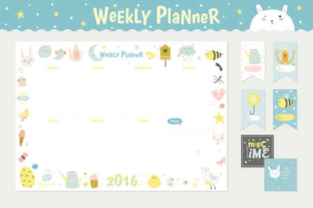 Cute Calendar Weekly Planner Template for 2016. Beautiful Diary with Vector Character and Funny Kids Illustrations. Spring Season Holidays Backgrounds. Organizer and Schedule with place for Notes