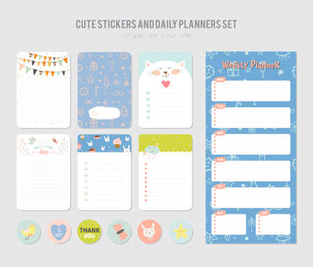 memos: Cute Daily Calendar Template. Note Paper and Stickers Set with Vector Funny Animals Illustrations. Good for Kids. Fun Background. Organizer and Schedule with place for Notes.