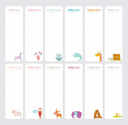 note paper background: Cute Daily Note Template. Notebook Paper and Stickers Set with Vector Funny Animals Illustrations. Good for Kids. Fun Background. Organizer and Schedule with place for Notes.