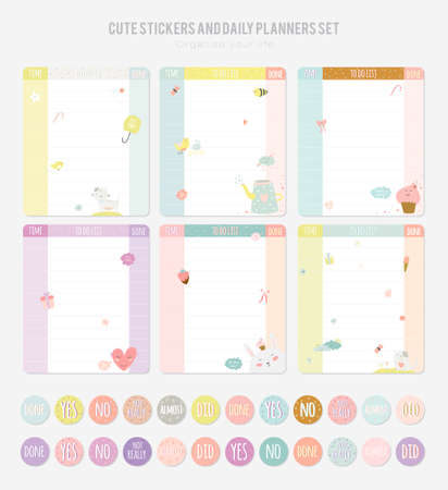 Cute Daily Note Template. Notebook Paper and Stickers Set with Vector Funny Animals Illustrations. Good for Kids. Fun Background. Organizer and Schedule with place for Notes.