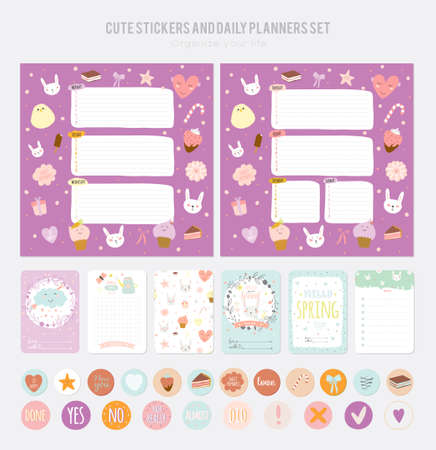 Cute Daily Note Template. Notebook Paper And Stickers Set With ...