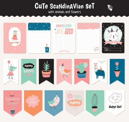 weekly planner: Beautiful collection of Easter greeting cards, gift tags, stickers and labels templates in vector. Holiday spring and summer cartoon concept with bunny, eggs, chicks and other graphic design elements. Illustration