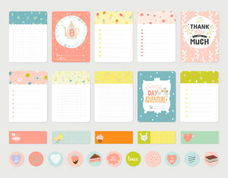 Big Set of Romantic and Cute Vector Cards, Notes, Stickers, Labels, Tags with Spring Illustrations and Wishes. Template for Greeting Scrap booking, Congratulations, Invitations. Vertical Card Design Vectores