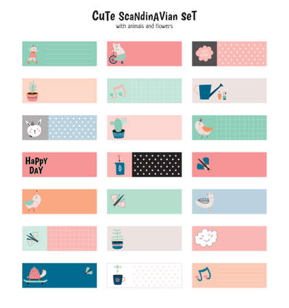 business card design: Cute scandinavian set of greeting cards, gift tags, stickers and labels templates with funny animals and flowers in vector. Holiday spring and summer modern concept with spring graphic design elements