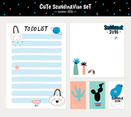 to do list: Cute Summer Scandinavian Set of Greeting Cards, Gift Tags, Stickers and Labels Templates with Trandy Summer Elements in vector. Holiday Summer Modern Concept with Graphic Design Elements
