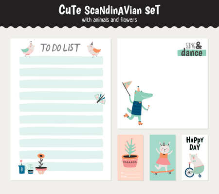 blank note: Cute scandinavian set of greeting cards, gift tags, stickers and labels templates with funny animals and flowers in vector. Holiday spring and summer modern concept with spring graphic design elements