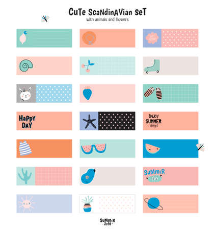 memos: Cute Summer Scandinavian Set of Greeting Cards, Gift Tags, Stickers and Labels Templates with Trandy Summer Elements in vector. Holiday Summer Modern Concept with Graphic Design Elements