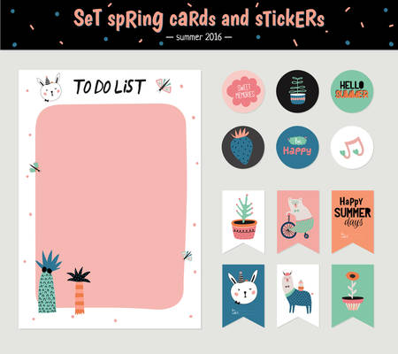 Leuke zomer Scandinavische Set van wenskaarten, Cadeaukaartjes, Stickers en Etiketten Templates met Trandy Summer Elements in vector. Holiday Summer Modern Concept met Graphic Design Elements