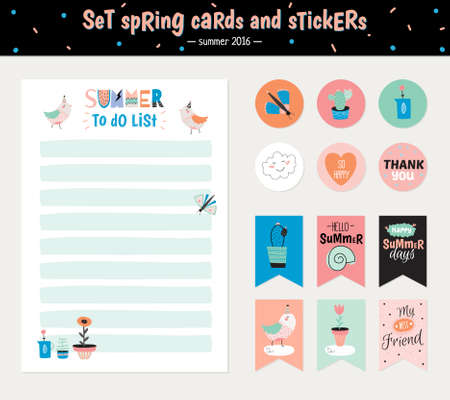 weekly planner: Cute Summer Scandinavian Set of Greeting Cards, Gift Tags, Stickers and Labels Templates with Trandy Summer Elements in vector. Holiday Summer Modern Concept with Graphic Design Elements