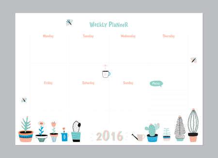 Scandinavian Template Weekly Planner et Daily. Organisateur et annexe avec les notes et liste à faire. Vecteur. Isolé. Branché Holiday Concept d'été avec Graphic Design Elements