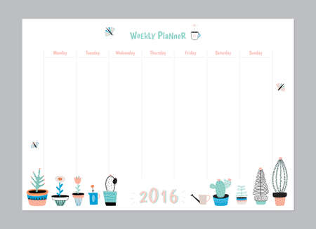Scandinavische wekelijkse en dagelijkse Planner Template. Organisator en Planning met Notes en To Do List. Vector. Geïsoleerd. Trendy Holiday Summer Concept met Graphic Design Elements Vector Illustratie