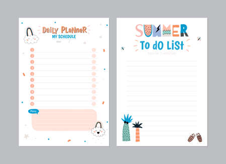 weekly planner: Scandinavian Weekly and Daily Planner Template. Organizer and Schedule with Notes and To Do List. Vector. Isolated. Trendy Holiday Summer Concept with Graphic Design Elements Illustration