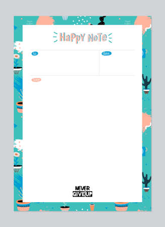 Scandinavian Weekly and Daily Planner Template. Organizer and Schedule with Notes and To Do List. Vector. Isolated. Trendy Holiday Summer Concept with Graphic Design Elements 矢量图像