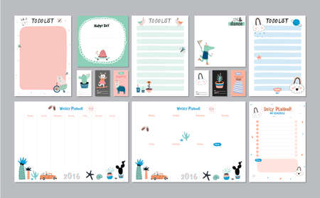 daily planner: Scandinavian Weekly and Daily Planner Template. Organizer and Schedule with Notes and To Do List. Vector. Isolated. Trendy Holiday Summer Concept with Graphic Design Elements Illustration