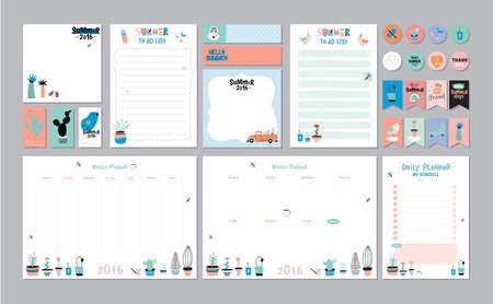 hacer: Plantilla Planificador semanal y diario escandinavo. Organizador y la Lista de notas y hacer la lista. Vector. Aislado. Concepto de vacaciones de verano de moda con elementos de diseño gráfico Vectores