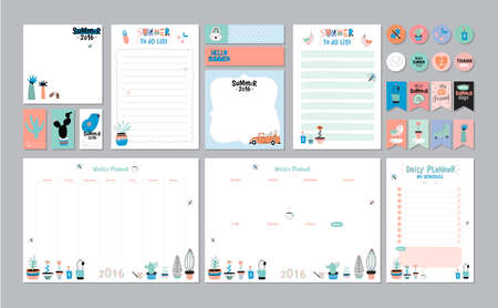 Scandinavian Weekly and Daily Planner Template. Organizer and Schedule with Notes and To Do List. Vector. Isolated. Trendy Holiday Summer Concept with Graphic Design Elements Çizim
