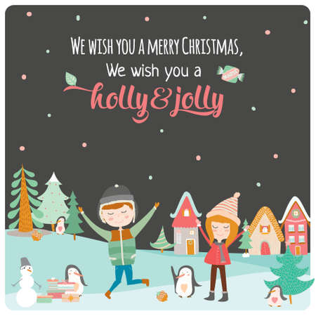 holiday gifts: Merry Christmas and Happy New 2016 Year Calligraphic and Typographic Wish with Happy Smiling Jumping Kids, Penguins and Gifts from Santa on Winter Background. Cute holiday illustration in vector.