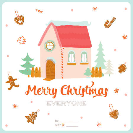 winter wish: Merry Christmas and Happy New Year Calligraphic and Typographic Wish with Illustration of a Cute Winter House on White Background. Greeting hand drawn holidays card. Seasons Greetings